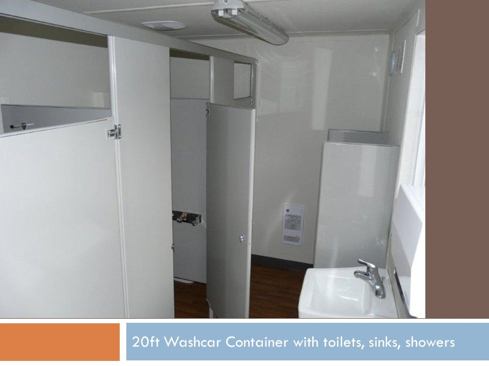 20ft Washcar Container with toilets, sinks, showers