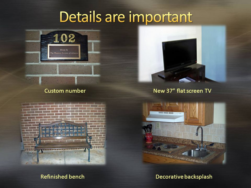 Refinished benchDecorative backsplash Custom numberNew 37 flat screen TV