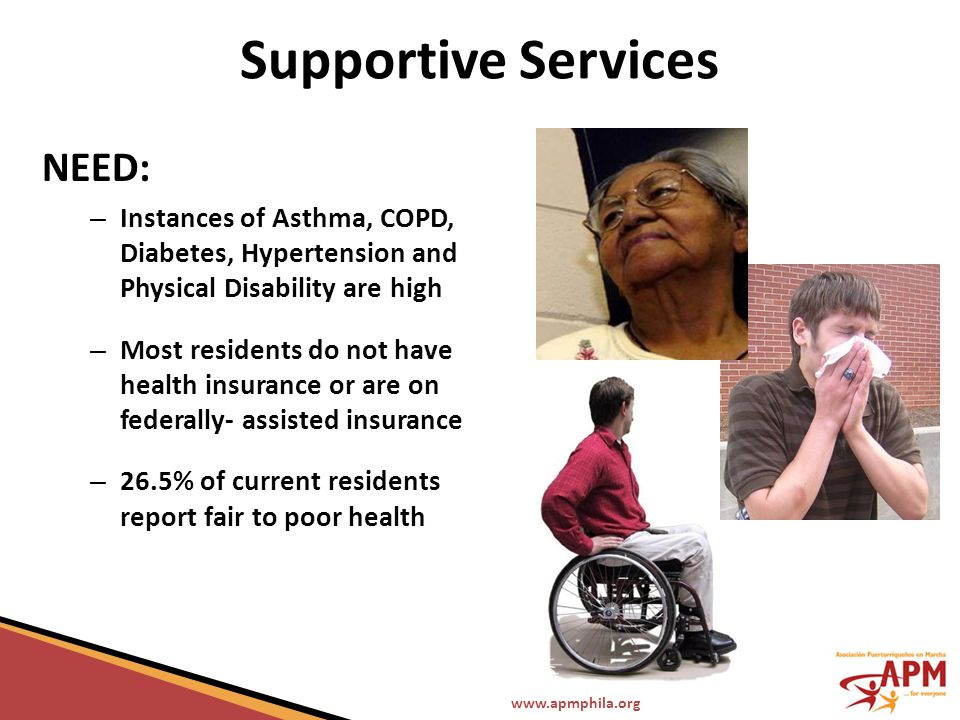 www.apmphila.org Supportive Services NEED: – Instances of Asthma, COPD, Diabetes, Hypertension and Physical Disability are high – Most residents do no