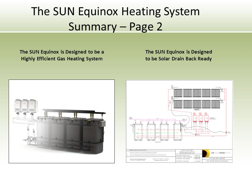 The SUN Equinox is Designed to be a Highly Efficient Gas Heating System The SUN Equinox is Designed to be Solar Drain Back Ready The SUN Equinox Heating System Summary – Page 2