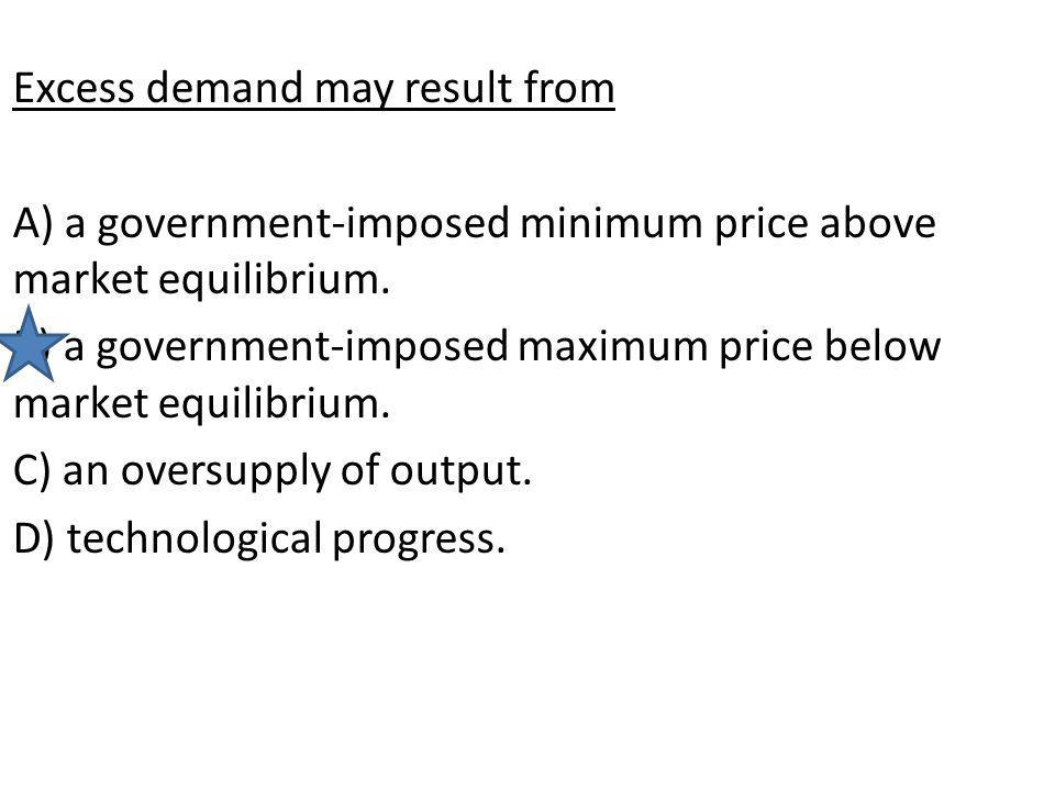 Excess demand may result from A) a government-imposed minimum price above market equilibrium. B) a government-imposed maximum price below market equil