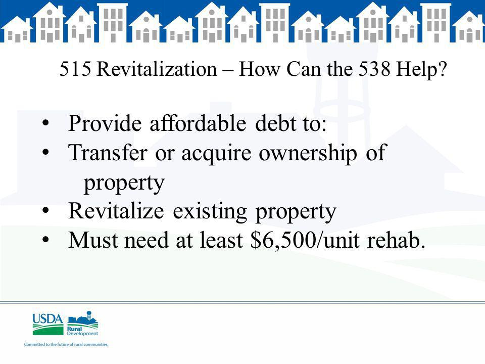 515 Revitalization – How Can the 538 Help.