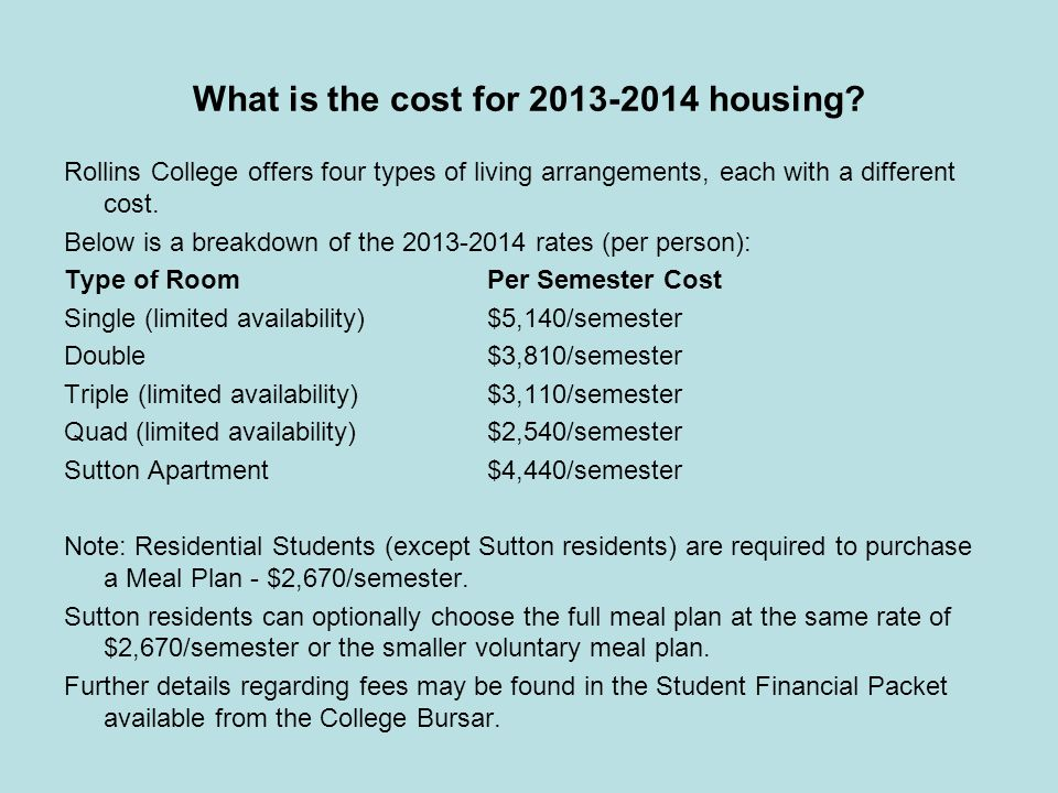 What is the cost for 2013-2014 housing.
