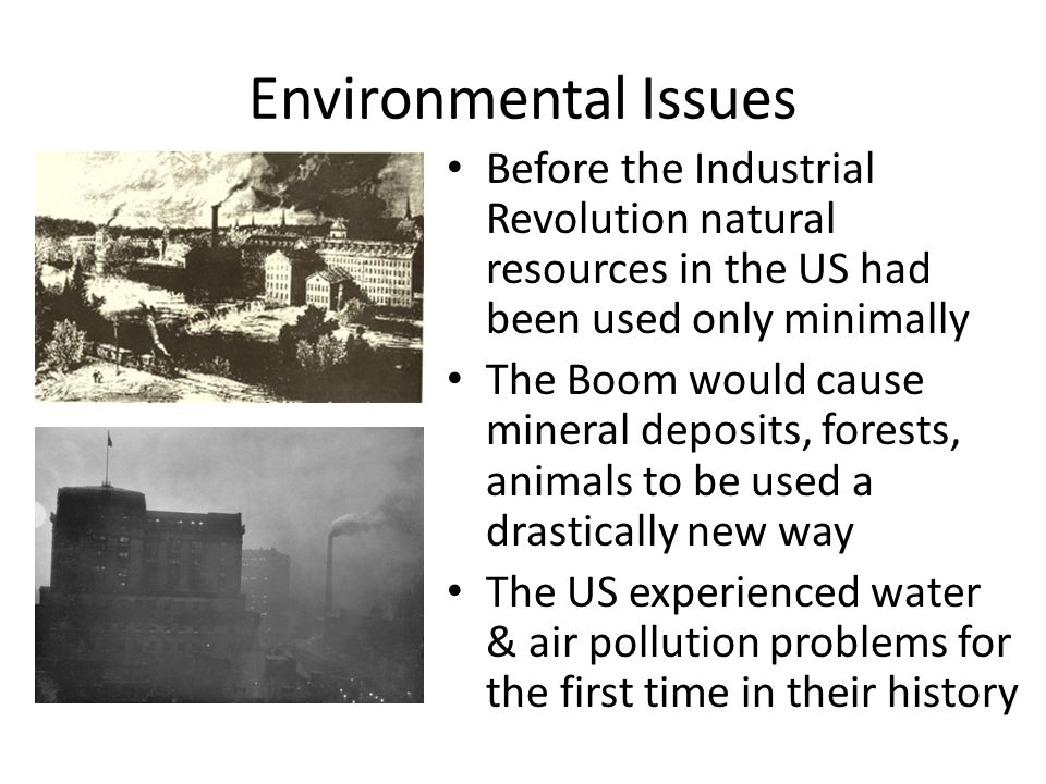 Environmental Issues Before the Industrial Revolution natural resources in the US had been used only minimally The Boom would cause mineral deposits,