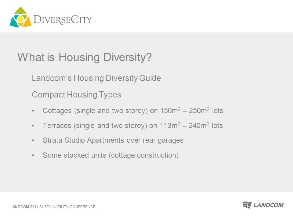 What is Housing Diversity? Landcoms Housing Diversity Guide Compact Housing Types Cottages (single and two storey) on 150m 2 – 250m 2 lots Terraces (s