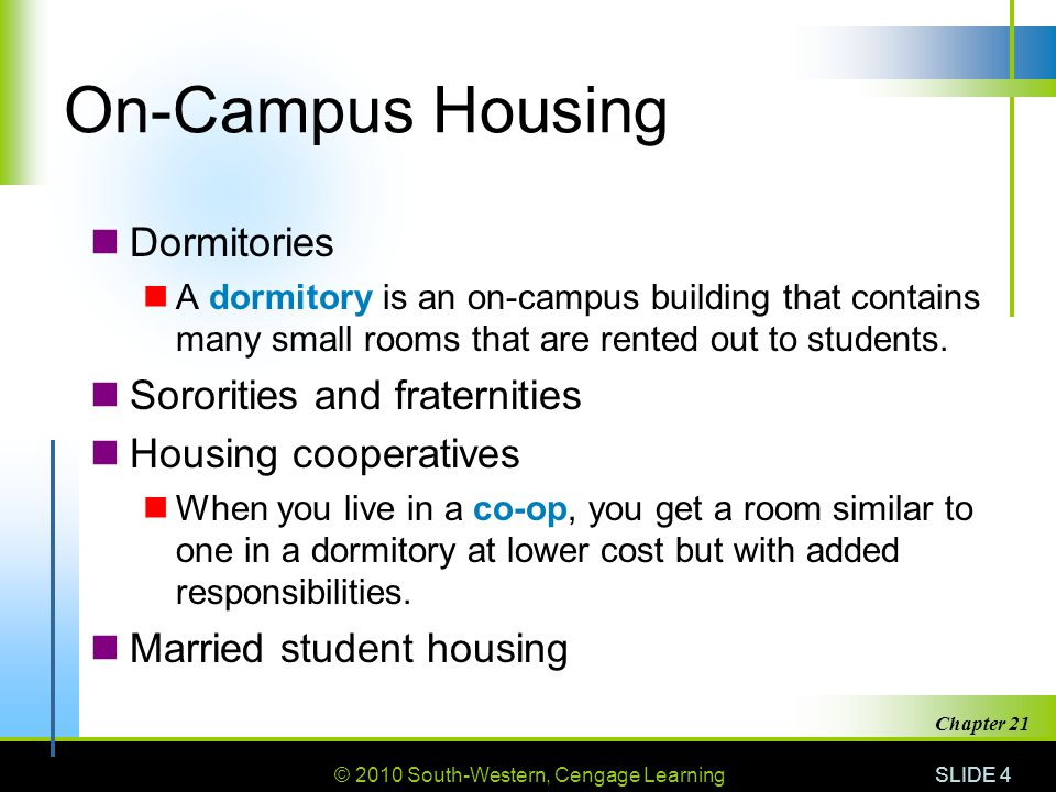 © 2010 South-Western, Cengage Learning SLIDE 4 Chapter 21 On-Campus Housing Dormitories A dormitory is an on-campus building that contains many small rooms that are rented out to students.