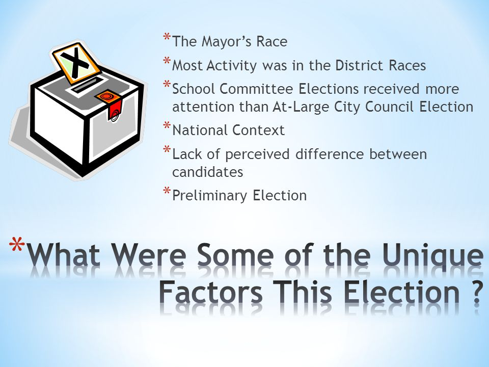 * The Mayors Race * Most Activity was in the District Races * School Committee Elections received more attention than At-Large City Council Election *
