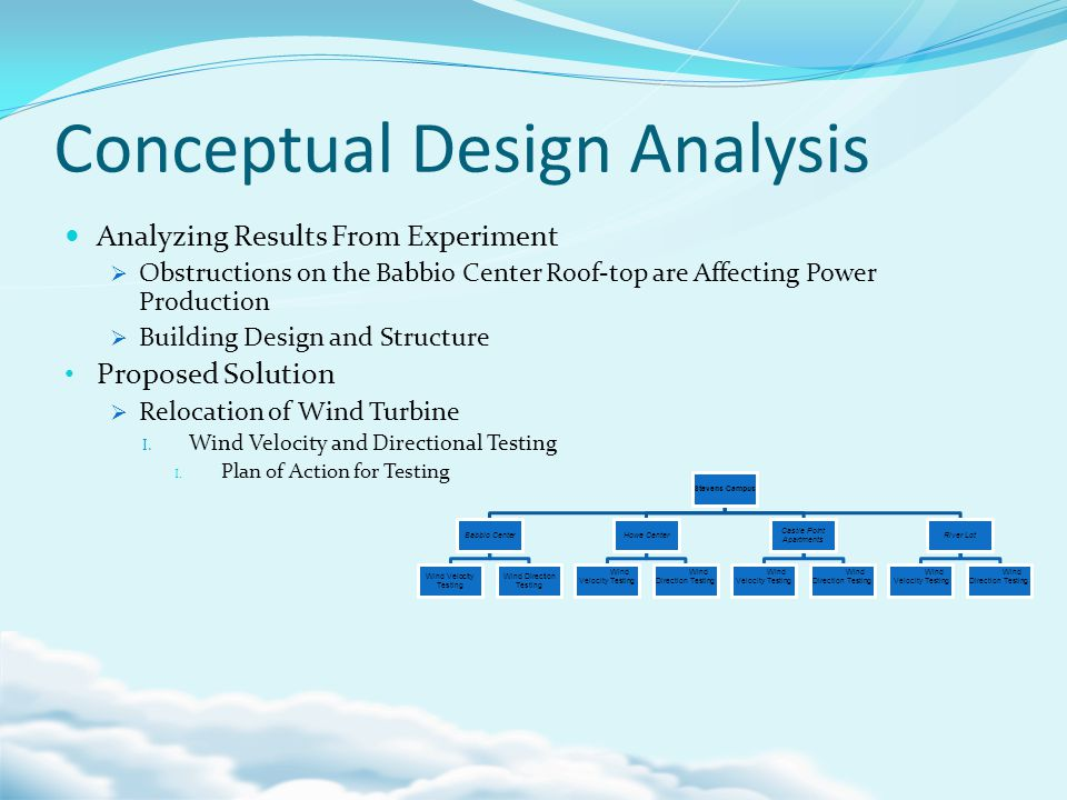 Conceptual Design Analysis Analyzing Results From Experiment Obstructions on the Babbio Center Roof-top are Affecting Power Production Building Design