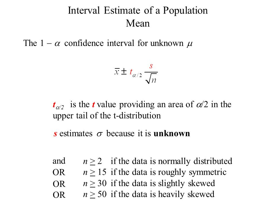 Interval Estimate of a Population Mean The 1 confidence interval for unknown s estimates because it is unknown t /2 is the t value providing an area o