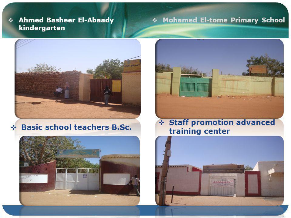 Ahmed Basheer El-Abaady kindergarten Staff promotion advanced training center Basic school teachers B.Sc.