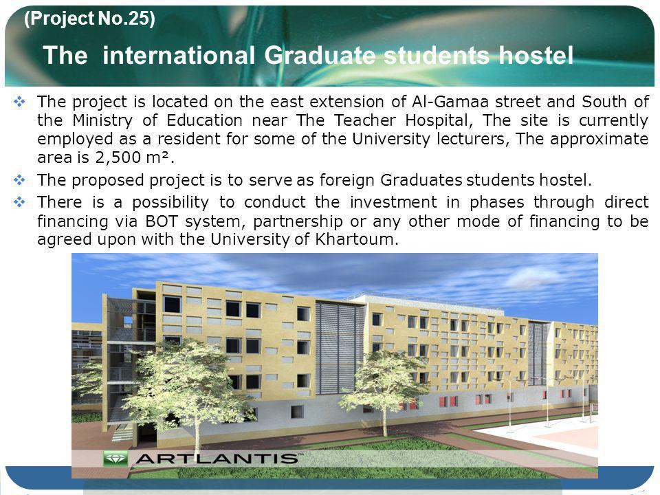 (Project No.25) The international Graduate students hostel The project is located on the east extension of Al-Gamaa street and South of the Ministry of Education near The Teacher Hospital, The site is currently employed as a resident for some of the University lecturers, The approximate area is 2,500 m².