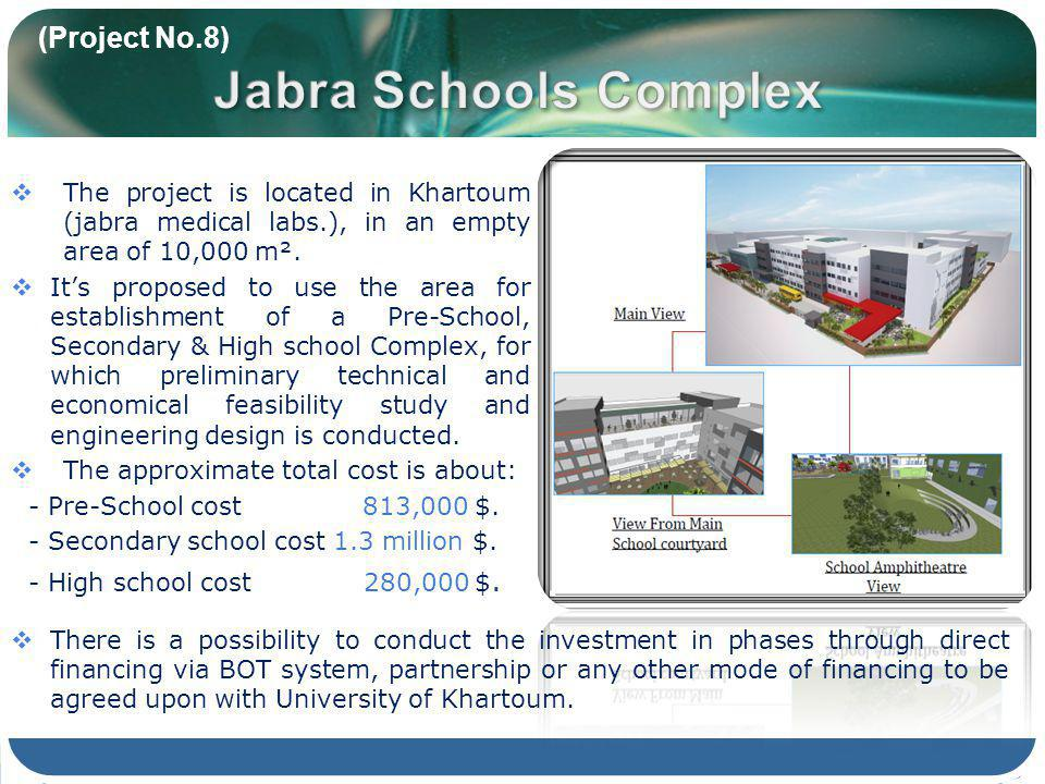 (Project No.8) The project is located in Khartoum (jabra medical labs.), in an empty area of 10,000 m². Its proposed to use the area for establishment