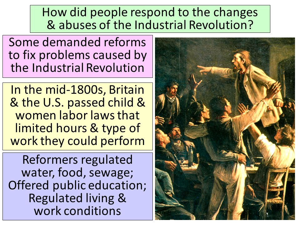 How did people respond to the changes & abuses of the Industrial Revolution? Some demanded reforms to fix problems caused by the Industrial Revolution