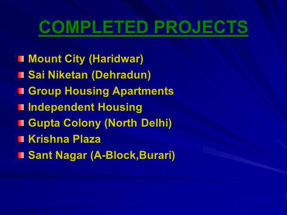 COMPLETED PROJECTS Mount City (Haridwar) Sai Niketan (Dehradun) Group Housing Apartments Independent Housing Gupta Colony (North Delhi) Krishna Plaza