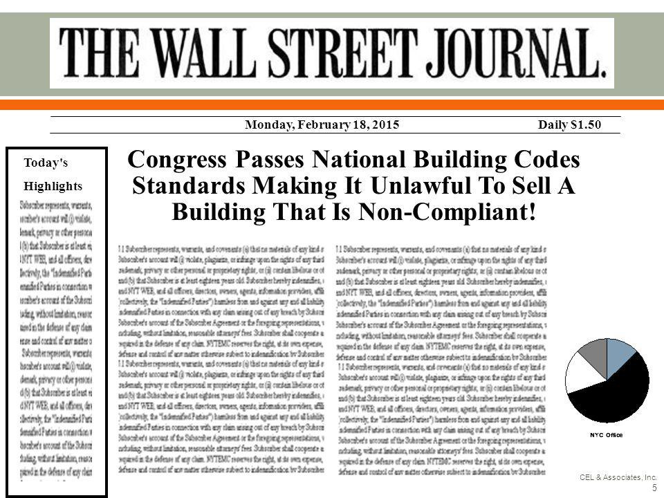 Congress Passes National Building Codes Standards Making It Unlawful To Sell A Building That Is Non-Compliant! Monday, February 18, 2015Daily $1.50 To