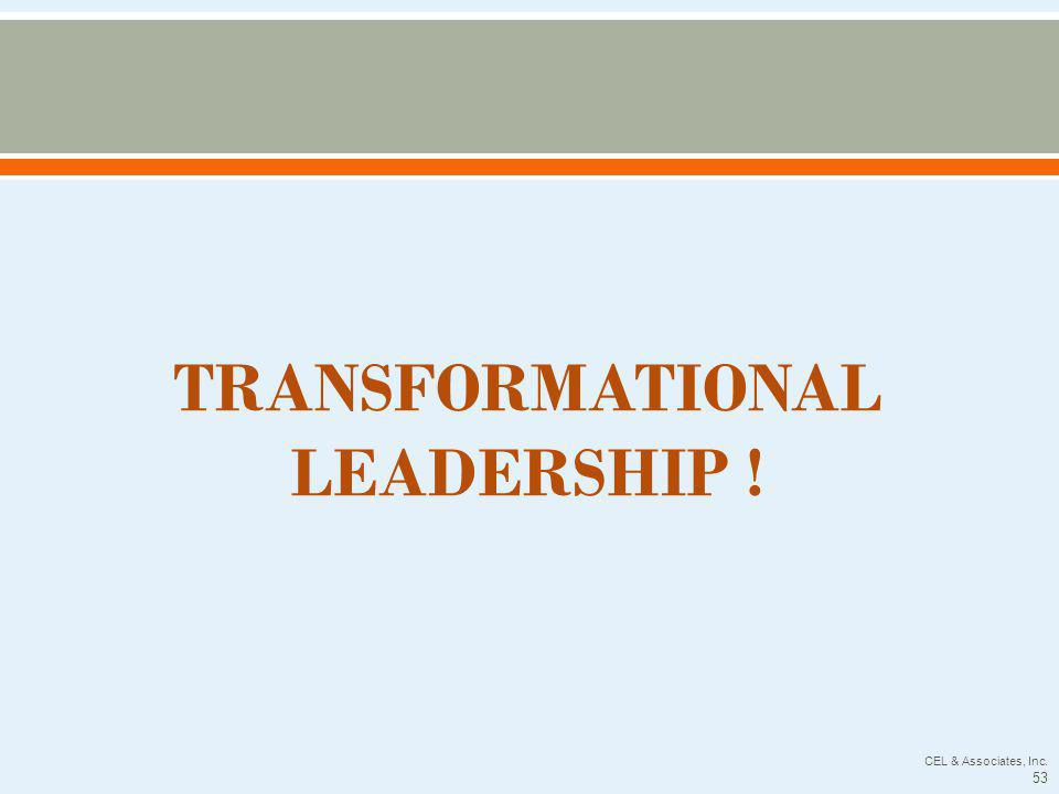 TRANSFORMATIONAL LEADERSHIP ! CEL & Associates, Inc. 53