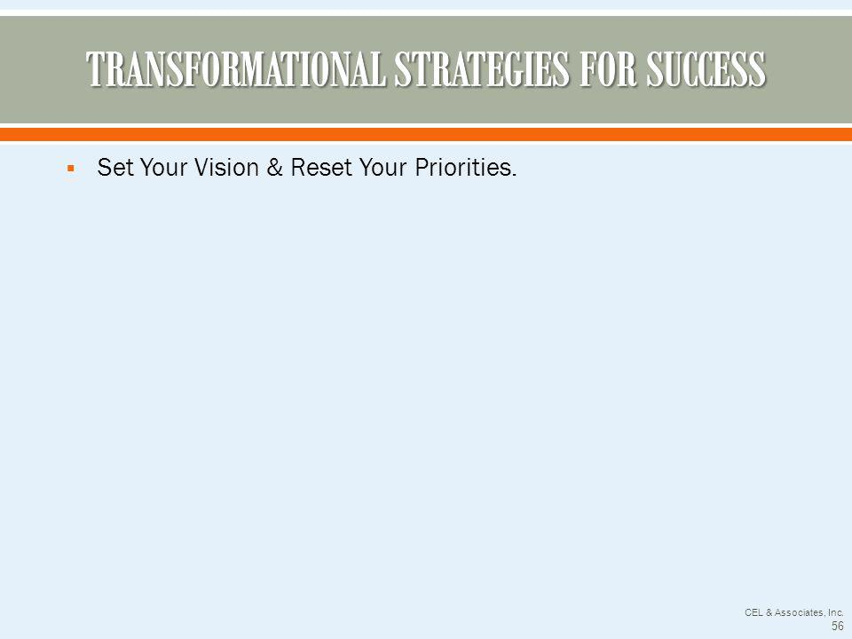 Set Your Vision & Reset Your Priorities. CEL & Associates, Inc. 56