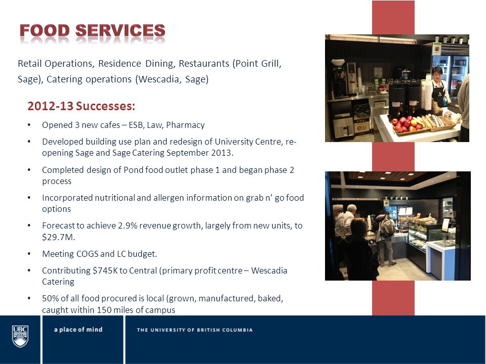 Retail Operations, Residence Dining, Restaurants (Point Grill, Sage), Catering operations (Wescadia, Sage) 2012-13 Successes: Opened 3 new cafes – ESB
