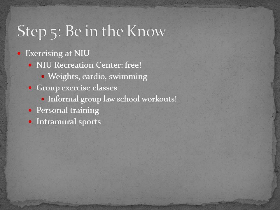 Exercising at NIU NIU Recreation Center: free.