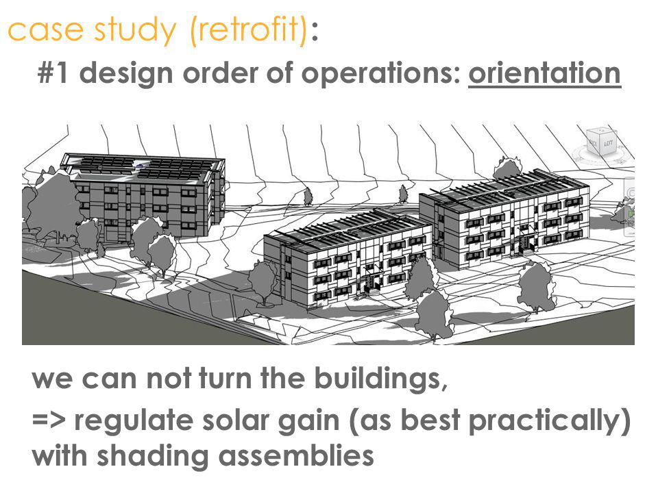 case study (retrofit) : #1 design order of operations: orientation we can not turn the buildings, => regulate solar gain (as best practically) with sh