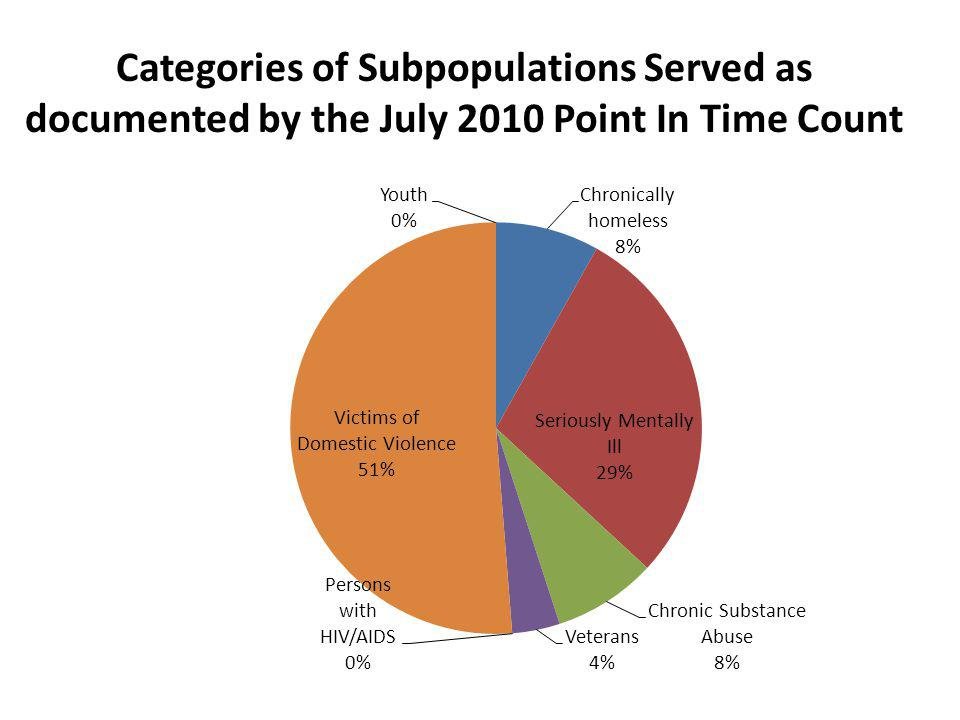 Categories of Subpopulations Served as documented by the July 2010 Point In Time Count