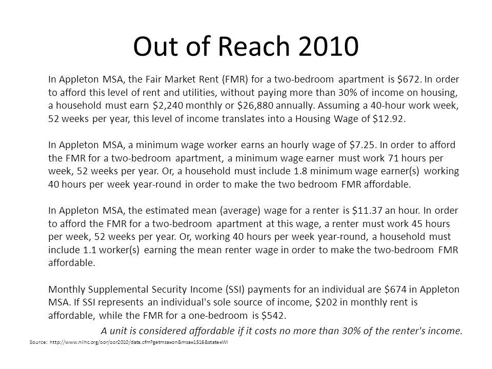 Out of Reach 2010 In Appleton MSA, the Fair Market Rent (FMR) for a two-bedroom apartment is $672.