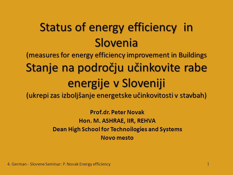 Status of energy efficiency in Slovenia (measures for energy efficiency improvement in Buildings Stanje na področju učinkovite rabe energije v Sloveniji (ukrepi zas izboljšanje energetske učinkovitosti v stavbah) Prof.dr.