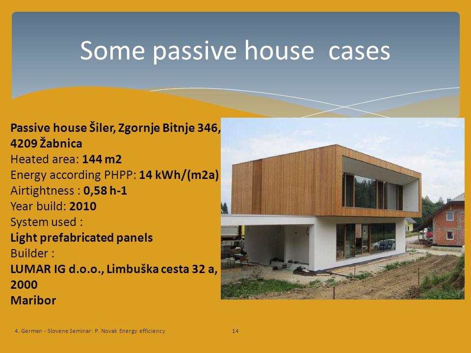Some passive house cases 4. German - Slovene Seminar: P.