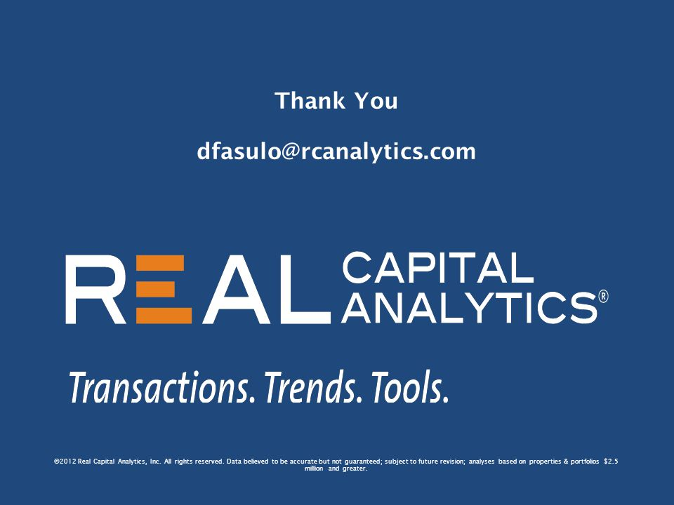 ©2012 Real Capital Analytics, Inc. All rights reserved.