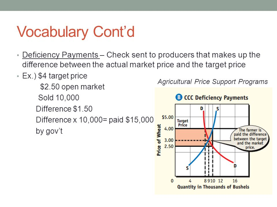 Vocabulary Contd Deficiency Payments – Check sent to producers that makes up the difference between the actual market price and the target price Ex.)