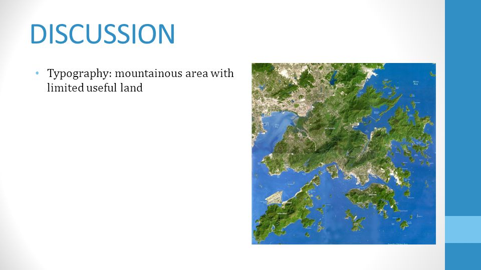 DISCUSSION Typography: mountainous area with limited useful land