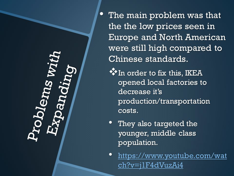 Problems with Expanding The main problem was that the the low prices seen in Europe and North American were still high compared to Chinese standards.
