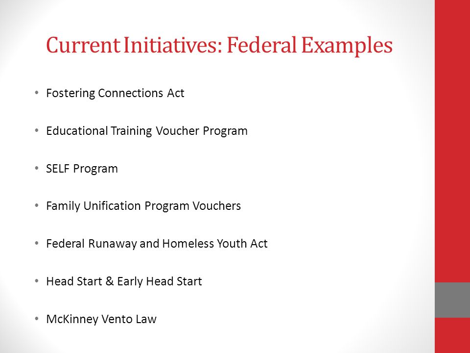 Current Initiatives: Federal Examples Fostering Connections Act Educational Training Voucher Program SELF Program Family Unification Program Vouchers