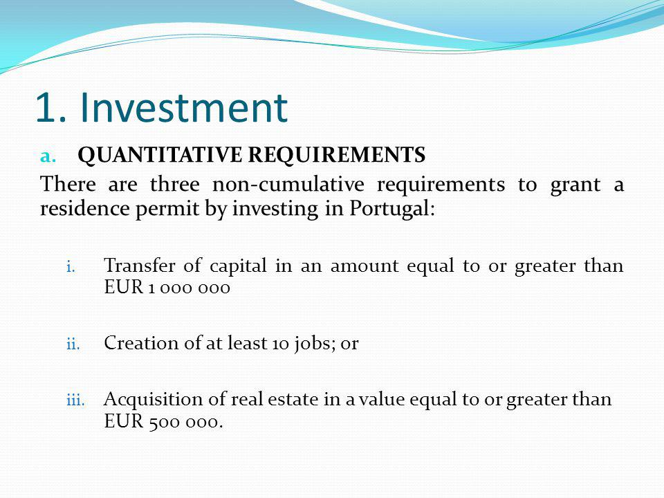1. Investment a.