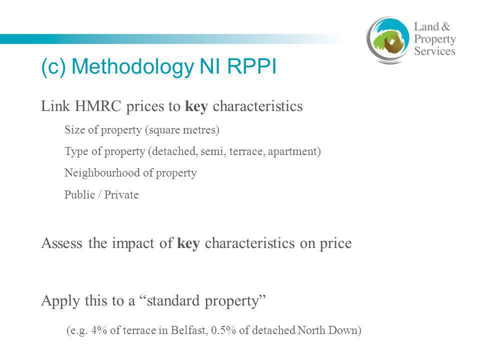 (c) Methodology NI RPPI Link HMRC prices to key characteristics Size of property (square metres) Type of property (detached, semi, terrace, apartment)