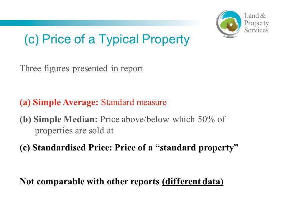 (c) Price of a Typical Property Three figures presented in report (a) Simple Average: Standard measure (b) Simple Median: Price above/below which 50%