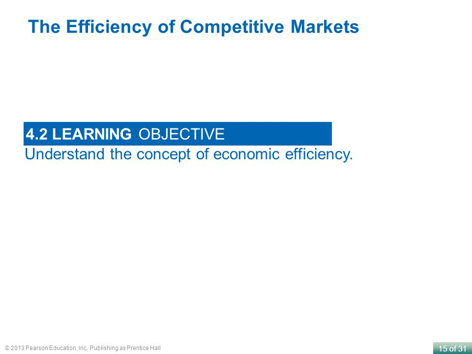 15 of 31 © 2013 Pearson Education, Inc. Publishing as Prentice Hall Understand the concept of economic efficiency. 4.2 LEARNING OBJECTIVE The Efficien