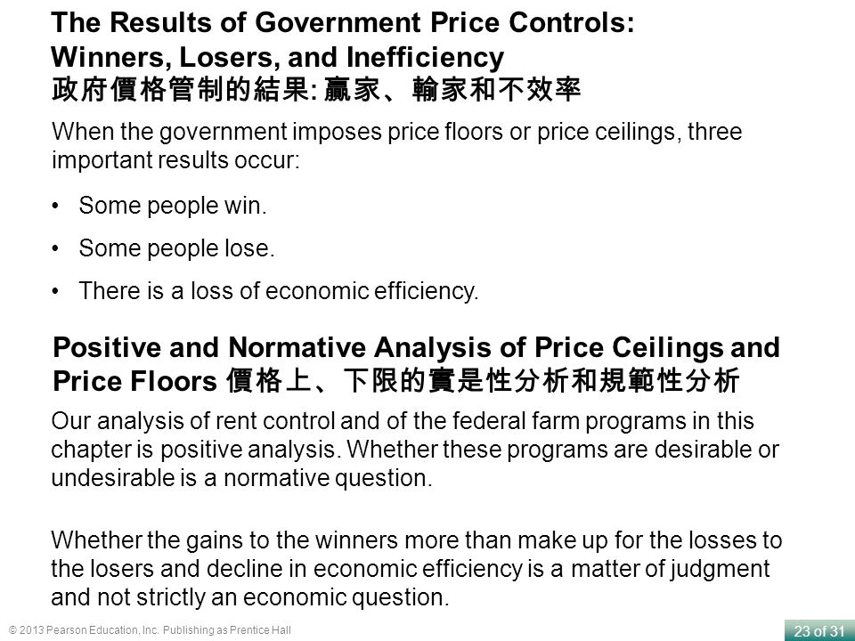 23 of 31 © 2013 Pearson Education, Inc. Publishing as Prentice Hall The Results of Government Price Controls: Winners, Losers, and Inefficiency : When