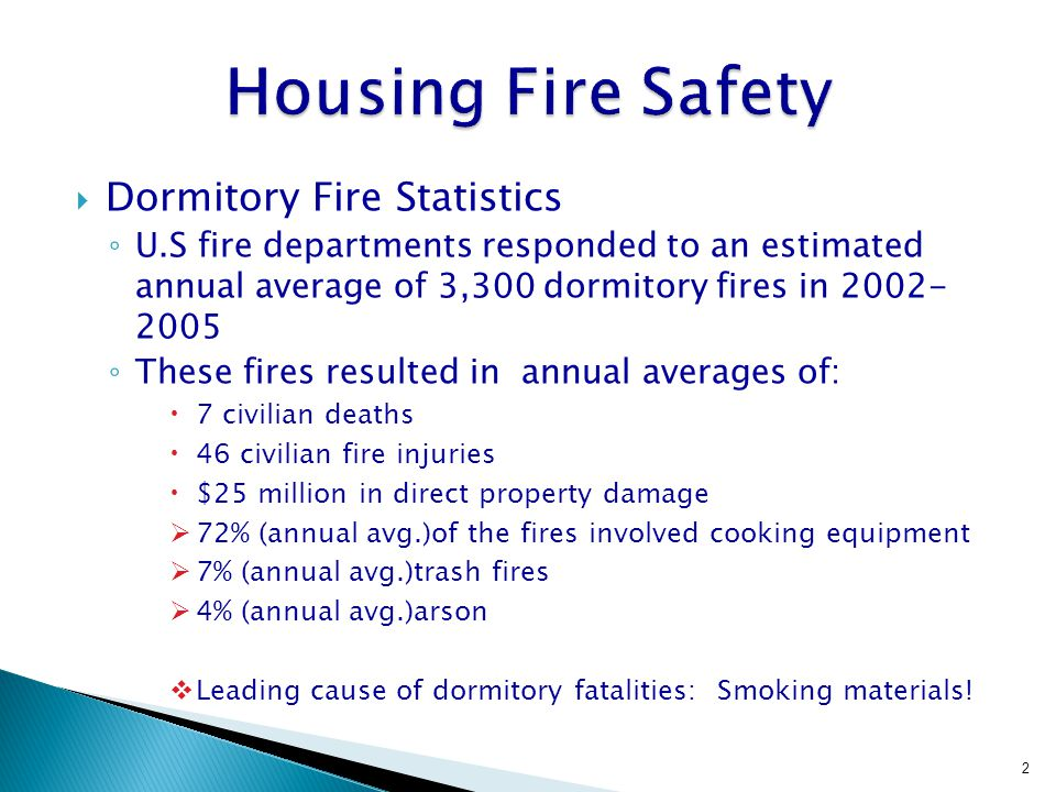 Dormitory Fire Statistics U.S fire departments responded to an estimated annual average of 3,300 dormitory fires in 2002- 2005 These fires resulted in annual averages of: 7 civilian deaths 46 civilian fire injuries $25 million in direct property damage 72% (annual avg.)of the fires involved cooking equipment 7% (annual avg.)trash fires 4% (annual avg.)arson Leading cause of dormitory fatalities: Smoking materials.