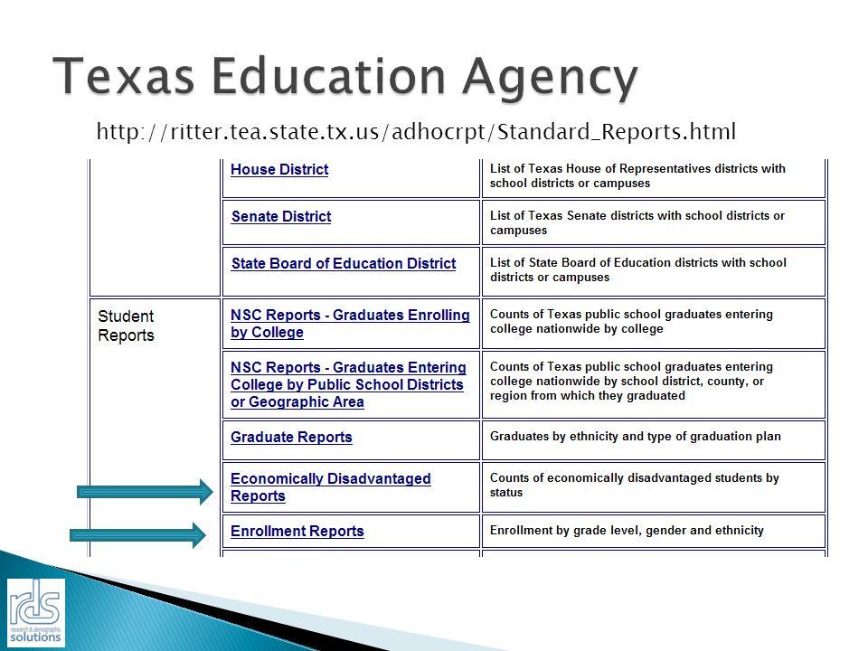 http://ritter.tea.state.tx.us/adhocrpt/Standard_Reports.html