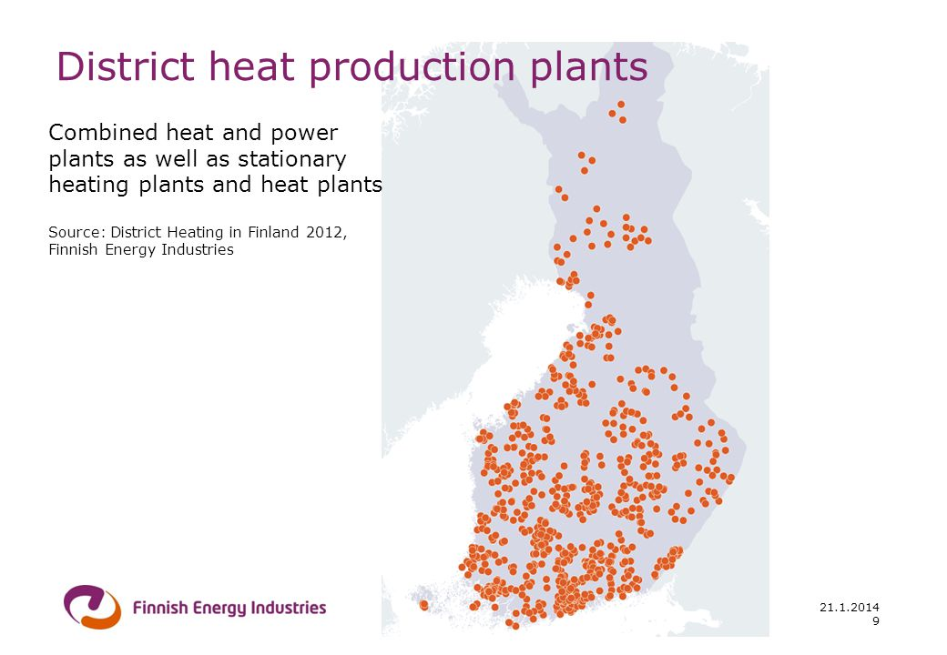 21.1.2014 District heat production plants Combined heat and power plants as well as stationary heating plants and heat plants Source: District Heating