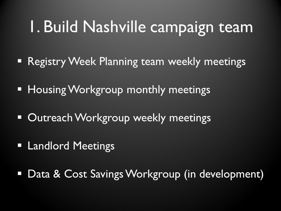 1. Build Nashville campaign team Registry Week Planning team weekly meetings Housing Workgroup monthly meetings Outreach Workgroup weekly meetings Lan