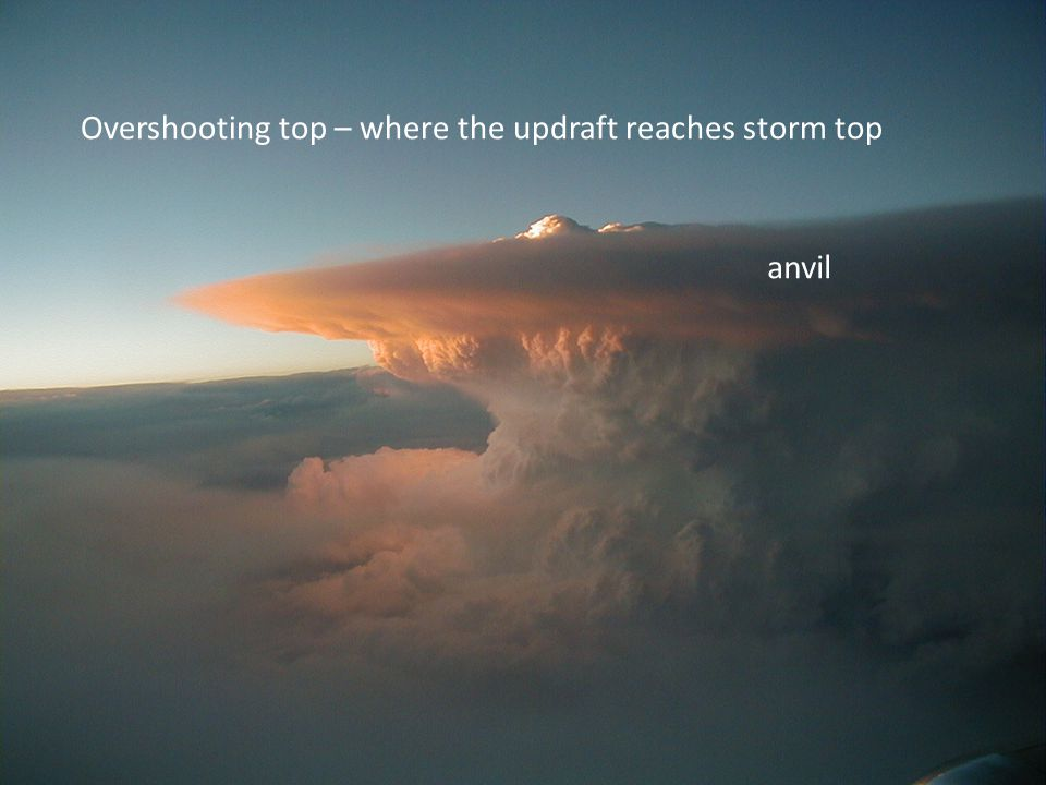 Overshooting top – where the updraft reaches storm top anvil