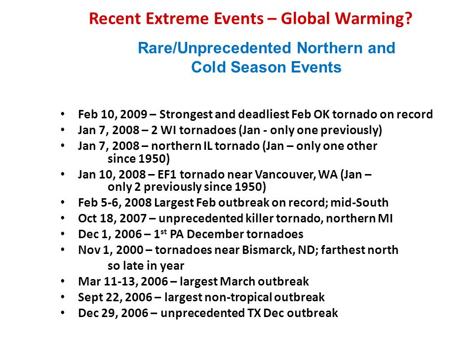 Recent Extreme Events – Global Warming.