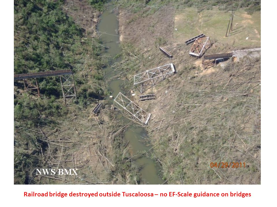 Railroad bridge destroyed outside Tuscaloosa – no EF-Scale guidance on bridges