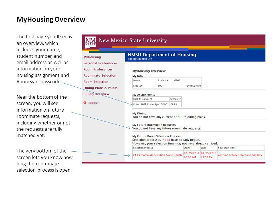 MyHousing Overview The first page youll see is an overview, which includes your name, student number, and email address as well as information on your housing assignment and RoomSync passcode.