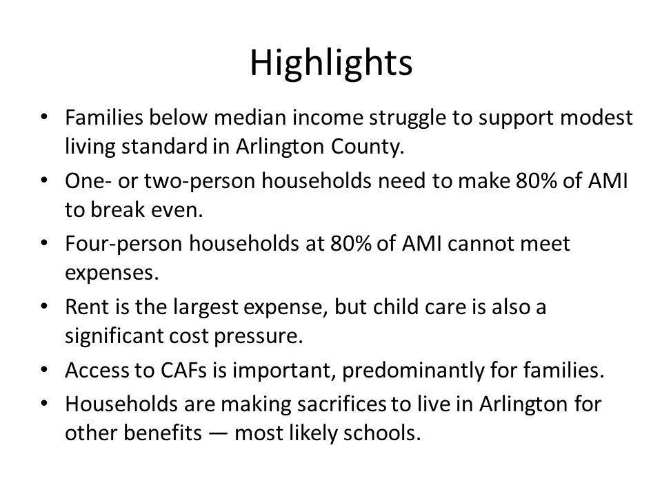 Highlights Families below median income struggle to support modest living standard in Arlington County.