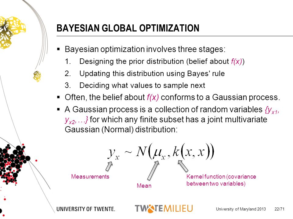 BAYESIAN GLOBAL OPTIMIZATION Bayesian optimization involves three stages: 1.Designing the prior distribution (belief about f(x)) 2.Updating this distribution using Bayes rule 3.Deciding what values to sample next Often, the belief about f(x) conforms to a Gaussian process.