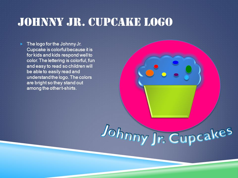 JOHNNY JR. CUPCAKE LOGO The logo for the Johnny Jr. Cupcake is colorful because it is for kids and kids respond well to color. The lettering is colorf