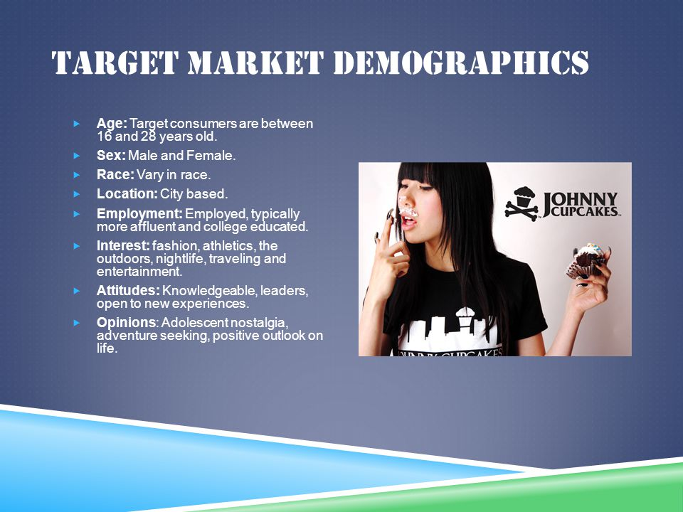TARGET MARKET DEMOGRAPHICS Age: Target consumers are between 16 and 28 years old. Sex: Male and Female. Race: Vary in race. Location: City based. Empl